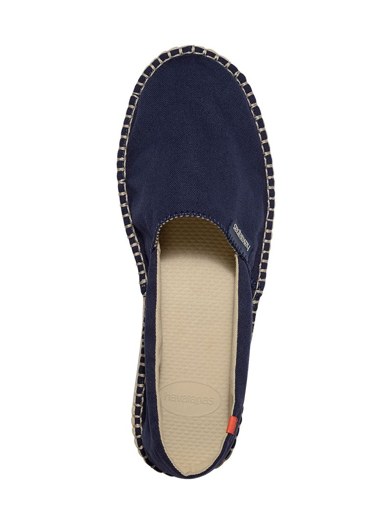 Marinblå tyg espadrillos med beige sulor - Origine II Navy Blue/Beige