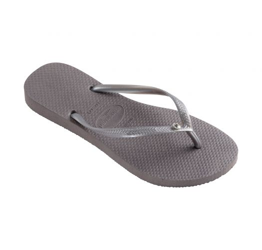 Grey flip-flops decorated with Swarovski crystals - Slim Crystal Glamour Sw Fog