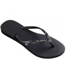 Black Havaianasflip-flops adorned with metal sequins - Slim Metal Mesh Black/Dark Grey