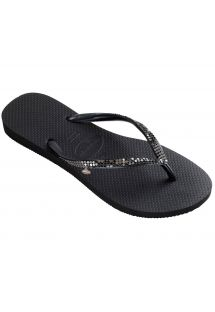 Tongs Havaianas noires ornées de sequins métalliques - Slim Metal Mesh Black/Dark Grey