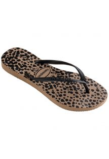 Chinelos - Havaianas Slim Animals Rose Gold/Black