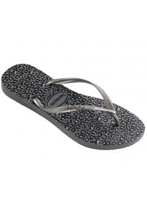 ビーチサンダル - Havaianas Slim Animals Steel Grey