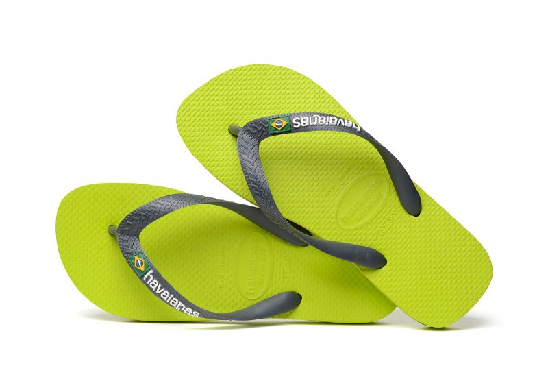 Flip-Flops - Havaianas Brasil Logo Lime Green/Grey