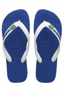 Meerblaue Flip Flops in moderner brasilianischer Form mit strahlend weißen Riemen - Brasil Logo Marine Blue