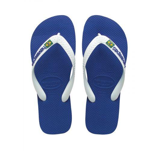 Blå og hvite flipp-flopper fra Havaianas med logo - Brasil Logo Marine Blue