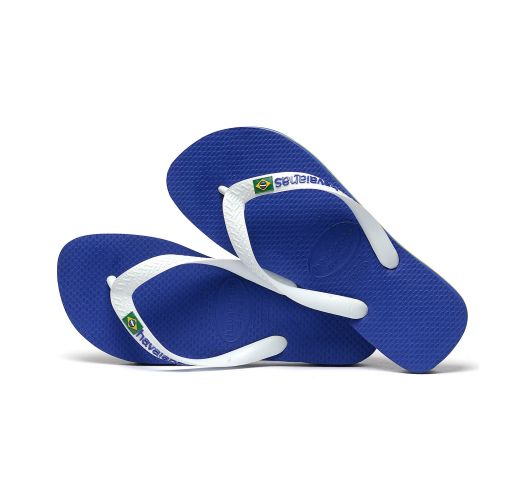 Blue and white flip flops from Havaianas with logo - Brasil Logo Marine Blue