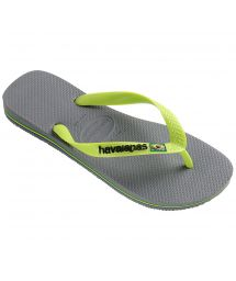 Two-tone grey and lime green flip flops with the HAVAIANAS logo - Brasil Logo Steel Grey