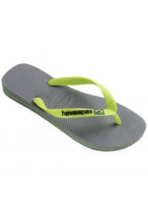 Pelēkas pludmales čības ar citronzaļiem elementiem unHAVAIANAS logotipu - Brasil Logo Steel Grey
