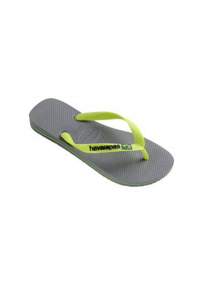 Tvåfärgade grå och limegröna flip-flops med Havaianas logotyp - Brasil Logo Steel Grey