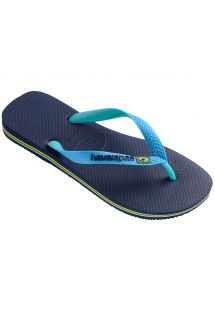 Two-toned flip flops featuring a navy blue footbed and turquoise straps - Brasil Mix Navy Blue/Turquoise