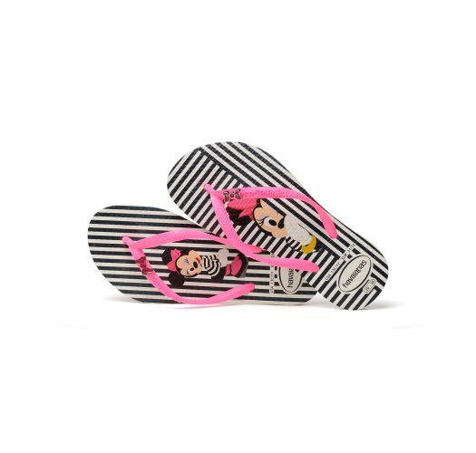Zabky - Havaianas Kids Disney Cool White/Shocking Pink