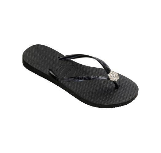 Black Flip Flops - Havaianas Slim Crystal Poem Black/Graphite