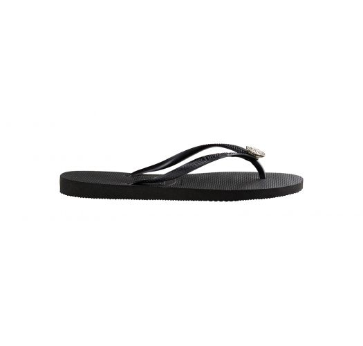 c326291a787667 Black Flip Flops - Havaianas Slim Crystal Poem Black graphite ...