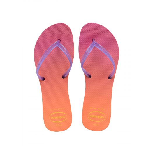 Pink and orange shaded flip flops, short purple straps - Flat Sunset Yellow/Purple