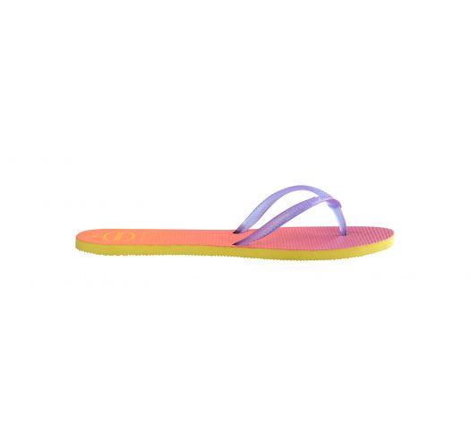 Джапанки в преливащи цветове, с�лилава каишка - FLAT SUNSET YELLOW/PURPLE