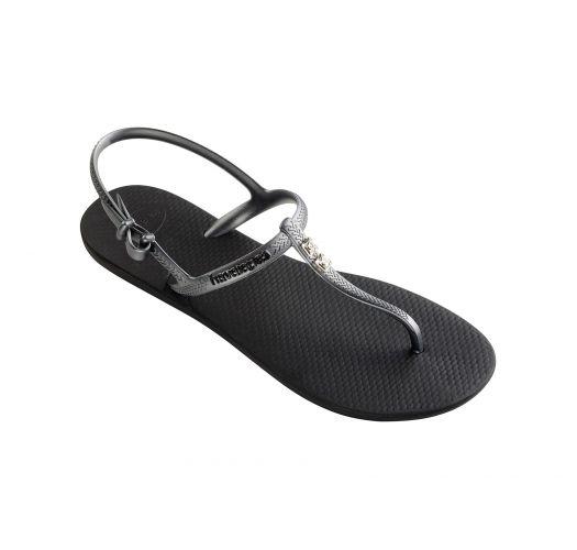 Black Flip Flops - Havaianas Freedom Crystal Black/Graphite