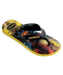 Flip-Flops - Havaianas Kids Max Herois Black/Citrus Yellow