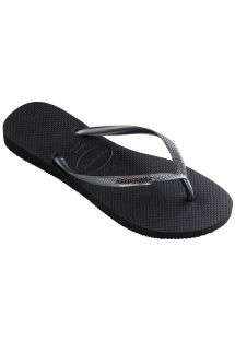 Black Flip Flops - Havaianas Slim Logo Metallic Black/Graphite