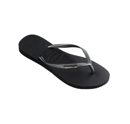 Black Flip Flops - Havaianas Slim Logo Metallic Black/Graphite