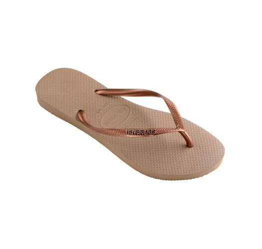 Flip-Flops - Havaianas Slim Logo Metallic Rose/Dark Copper