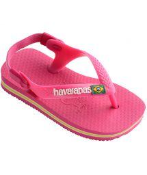 Pink Flip Flops - Havaianas Baby Brasil Logo Orchid Rose