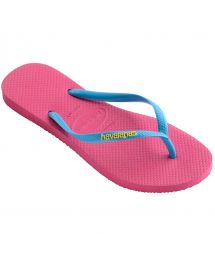Pink Flip Flops - Havaianas Slim Logo Orchid Rose/Turquoise