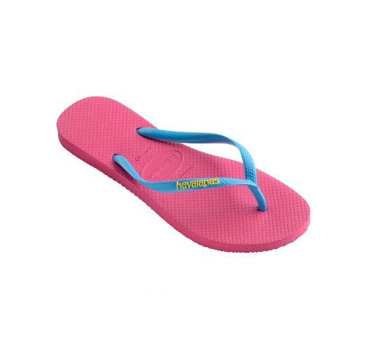 Pink Flip Flops - Havaianas Slim Logo Orchid Rose/Turquoise