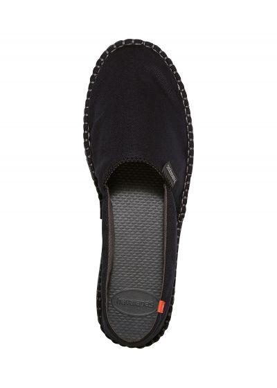 Svarta tyg espadrillos med gummisluor - Origine II Black