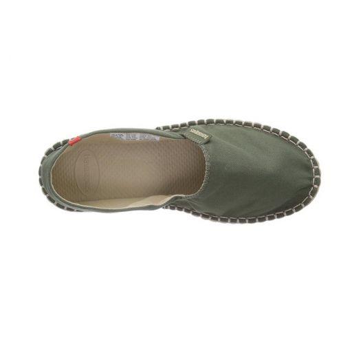Espadrilles Havaianas vert kaki et semelles beiges - Origine II Green
