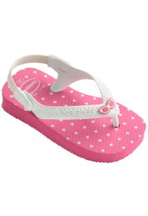 Tong rose - Havaianas Baby Chic Shocking Pink/White