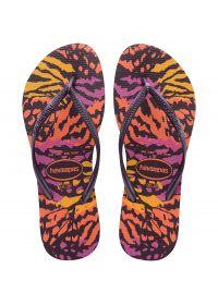 Färggranna flip-flops med djurtryck - Slim Animals Aubergine