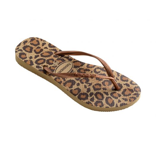 Beige and brown leopard flip-flops - Slim Animals Beige
