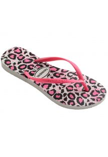 Pilkai baltais leopardo ra�tais puo�tos �lepetės - Slim Animals White/Rose