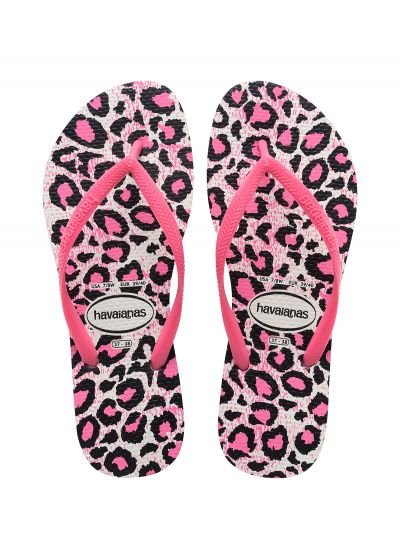 Pink and white leopard print flip-flops - Slim Animals White/Rose
