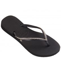 Black flip-flops with Swarovski crystals - Slim Crystal Mesh Sw Black