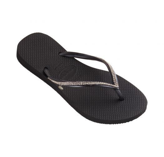 Black flip-flops with Swarovski crystals - Slim Crystal Mesh Sw Black