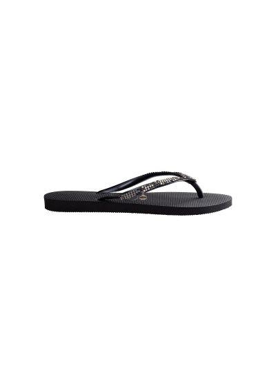 Svarta flip-flops med Swarovski kristaller - Slim Crystal Mesh Sw Black