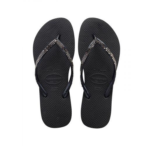 Черные сланцы с кристаллами Swarovski - Slim Crystal Mesh Sw Black