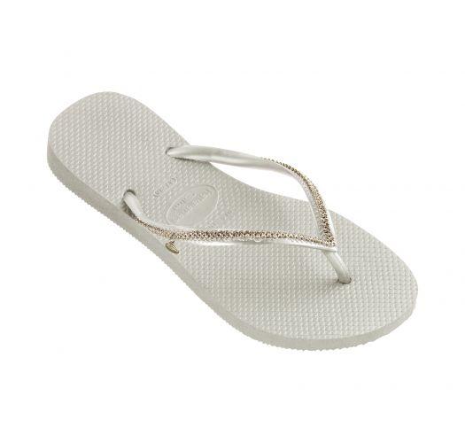 White flip-flops with Swarovski crystals - Slim Crystal Mesh Sw White