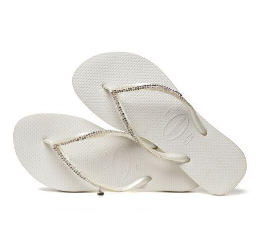 weiße FlipFlops mit Swarovski-Kristallen - Slim Crystal Mesh Sw White
