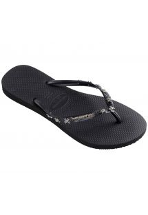 Black flip-flops, straps with metallic decorations - Slim Hardware Black/Dark Grey