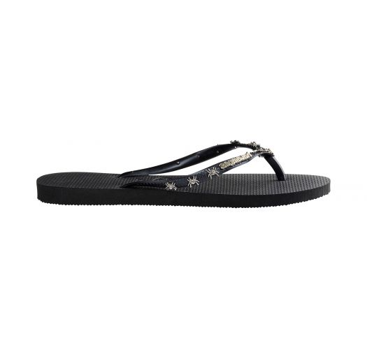 Black flip-flops, straps with metallic decorations - Slim Hardware Black/Dark Grey