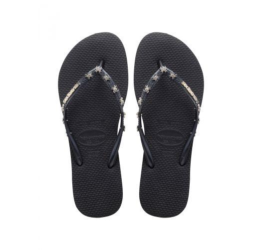 Черни джапанки с метални елементи - Slim Hardware Black/Dark Grey