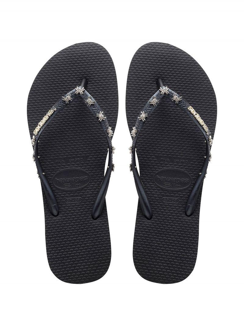 Svarta flip-flops, remmar med metalldekorationer - Slim Hardware Black/Dark Grey