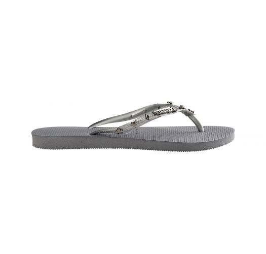Grey flip-flops with silver-coloured playing card symbols - Slim Hardware Steel Grey