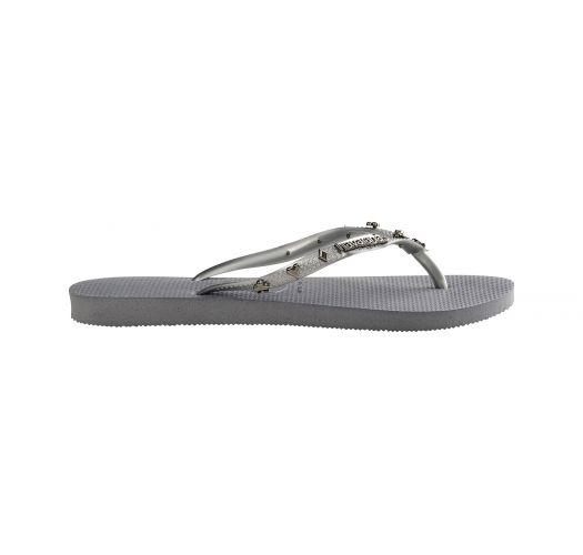 Grå klipklappere med sølvfarvede spillekortmotiver - Slim Hardware Steel Grey