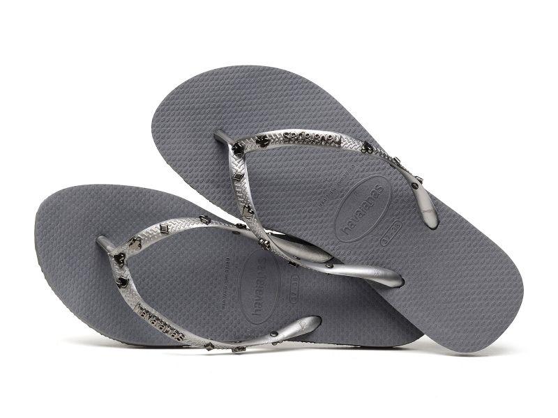 Grå flip-flops med silverfärgade spelkortsymboler - Slim Hardware Steel Grey