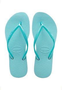 具有光滑效果綁帶的天藍色人字拖 - SLIM ICE BLUE