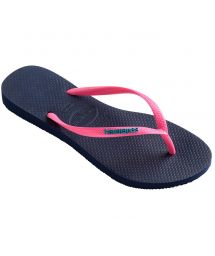 Navy blue flip-flops and pink straps with the HAVAIANAS logo - Slim Logo Navy Blue/Pink