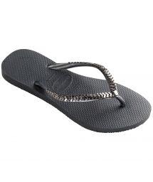 Mörkgrå flip-flops med metallaktigta silverfärgade remmar - Slim Metal Grega Dark Grey